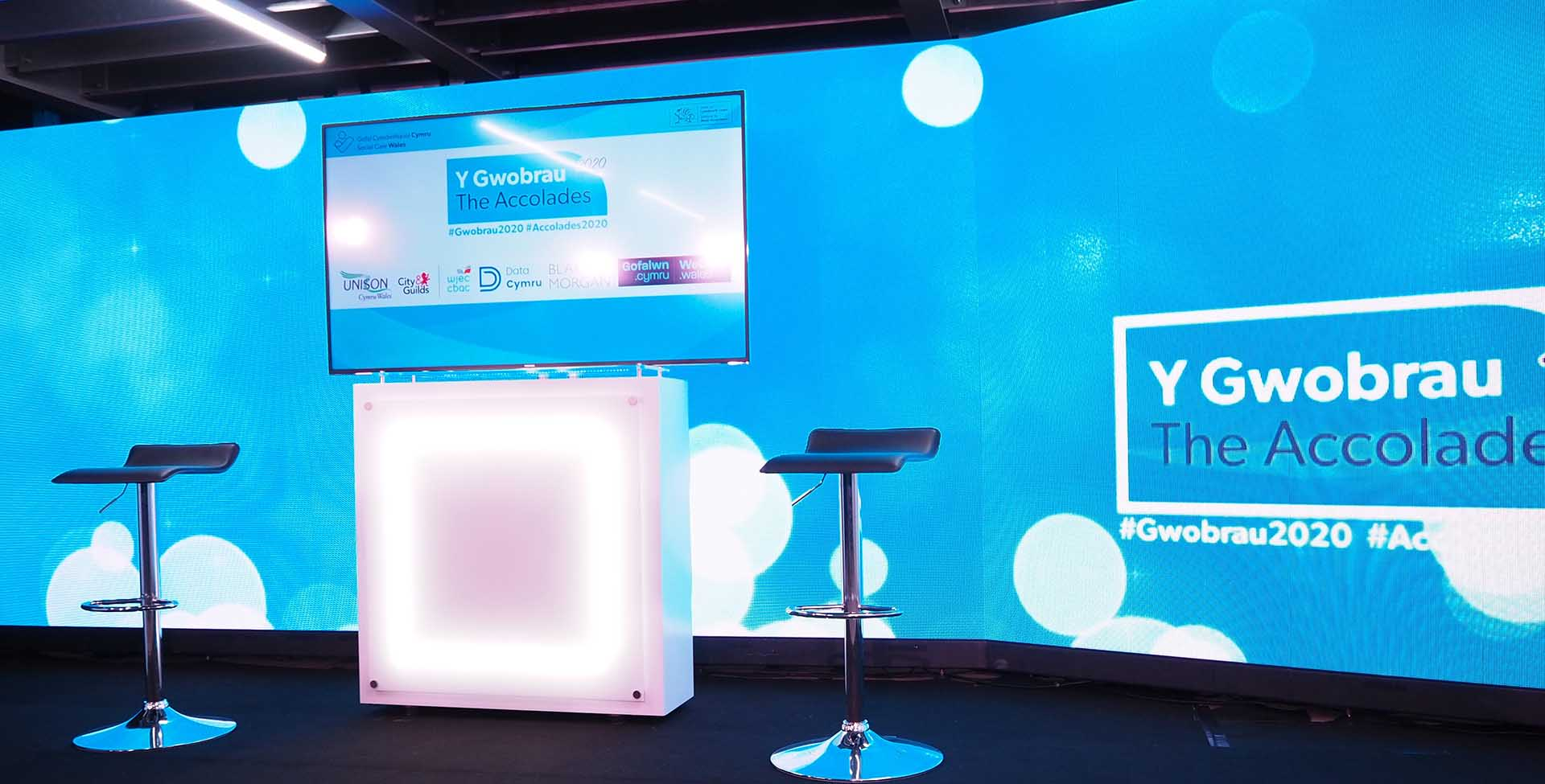 online live event studio featuring 6 meter LED video wall