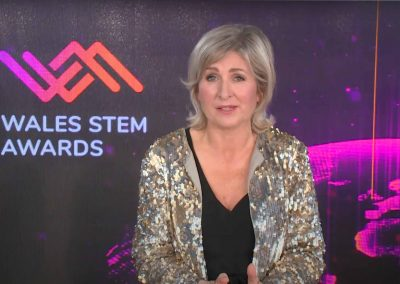 Presenter Sian Lloyd hosting the Wales Stem Awards awards from the CLEARTECH LIve online live event studio