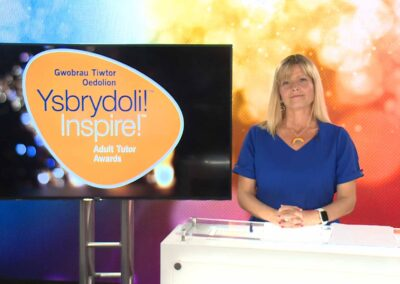 Nia Parry hosting the 2021 Inspire Tutor Awards from the CLEARTECH Live online event studio
